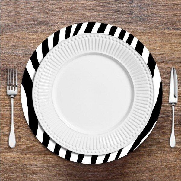 Sousplat Zebra Preto e Branco
