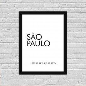 Quadro Decorativo Minimalista Coordenadas São Paulo Preto