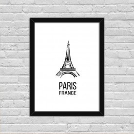 Quadro Decorativo Minimalista Paris France Preto