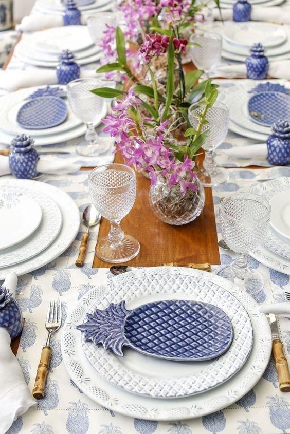 Jogo de Porcelana Azul Abacaxi