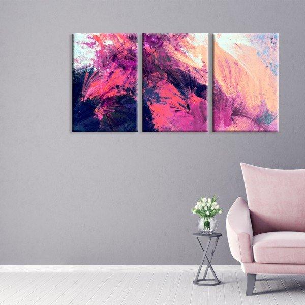 Kit 3 Telas Canvas Abstrato Colorido