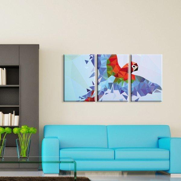 Kit 3 Telas Canvas Arara Abstrato Colorido Geométrico