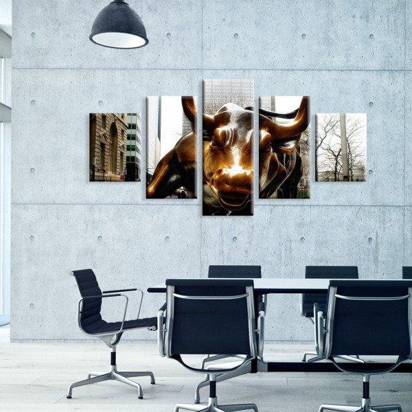 Kit 5 Telas Canvas Wallstreet Bull