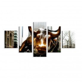 Kit 5 Telas Canvas Wallstreet Bull