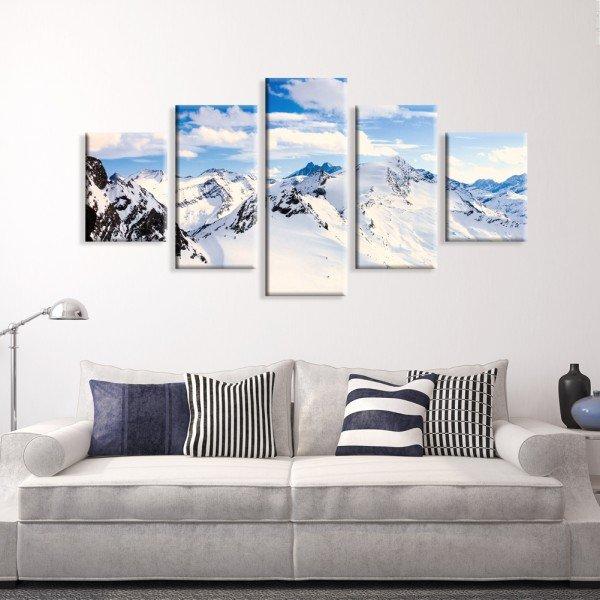 Kit 5 Telas Canvas Neve Montanha