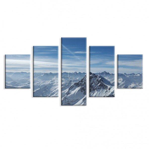 Kit 5 Telas Canvas Montanha Nevada