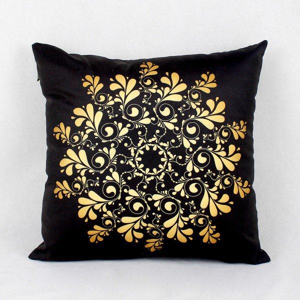 Almofada Ouro Flores Douradas