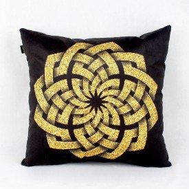 Almofada Ouro Geométrico Circular Dourado