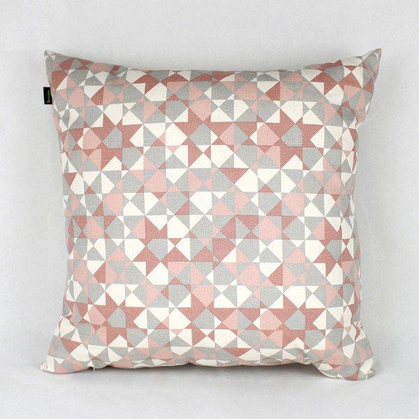 Almofada Agata Triangular Rosa e Branco