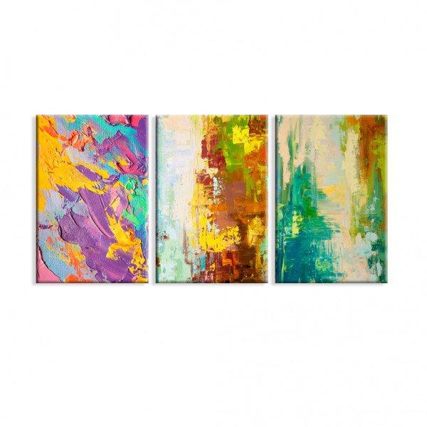 Kit 3 Telas Canvas Abstrato Moderno  Colorido