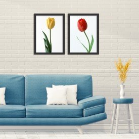 Kit 2 Quadros Decorativos Flores Preto