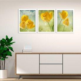 Kit 3 Quadros Decorativos Flores Amarelas do Campo Branco