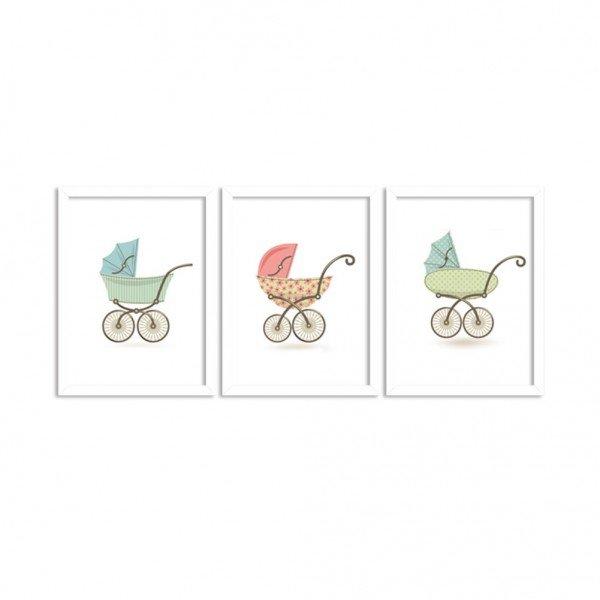 Kit 3 Quadros Decorativos Infantil Carrinho de Bebê Branco
