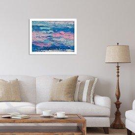 Quadro Decorativo Abstrato Moderno Azul Branco