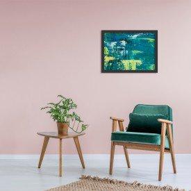 Quadro Decorativo Abstrato Moderno Azul Pincel Verde Preto