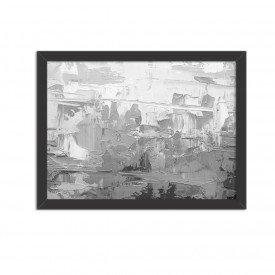Quadro Decorativo Abstrato Moderno Cinza Preto