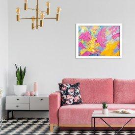 Quadro Decorativo Abstrato Moderno Pintura Pinceladas Branco