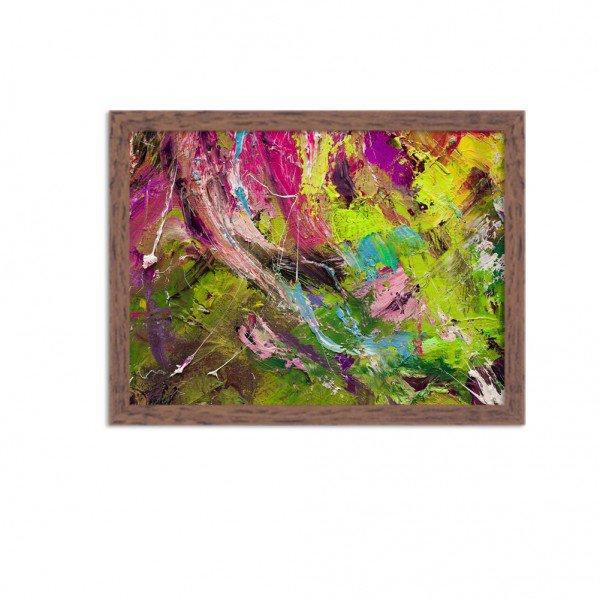 Quadro Decorativo Abstrato Moderno Tons de Verde Tinta Madeira