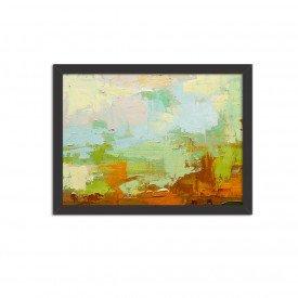 Quadro Decorativo Abstrato Moderno Verde Pincel Preto