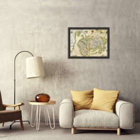Quadro Decorativo Antigo Mapa Mundi Preto