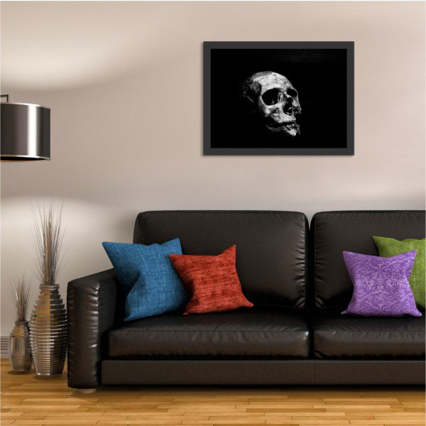 Quadro Decorativo Dark Skull Preto