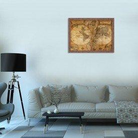 Quadro Decorativo Mapa Antigo Madeira