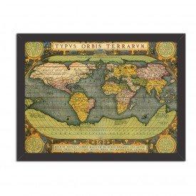 Quadro Decorativo Mapa Mundi Antigo Preto