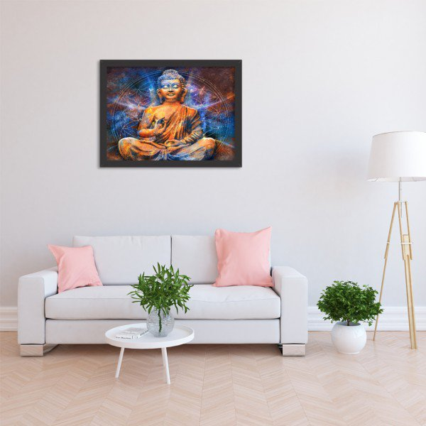 Quadro Decorativo Vibes Buda Preto
