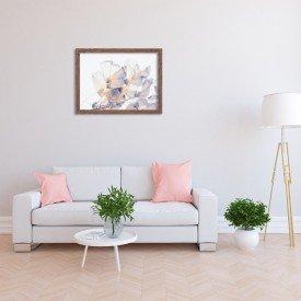 Quadro Decorativo Primavera Flores Brancas Madeira