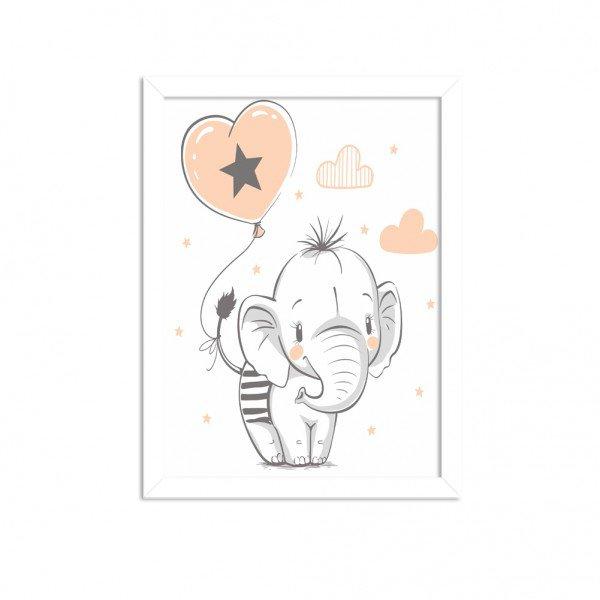 Quadro Decorativo Infantil  Elefantinho Fofo Branco