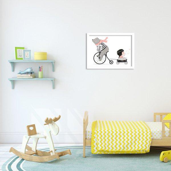Quadro Decorativo Infantil  Ursinho Bicicleta Branco