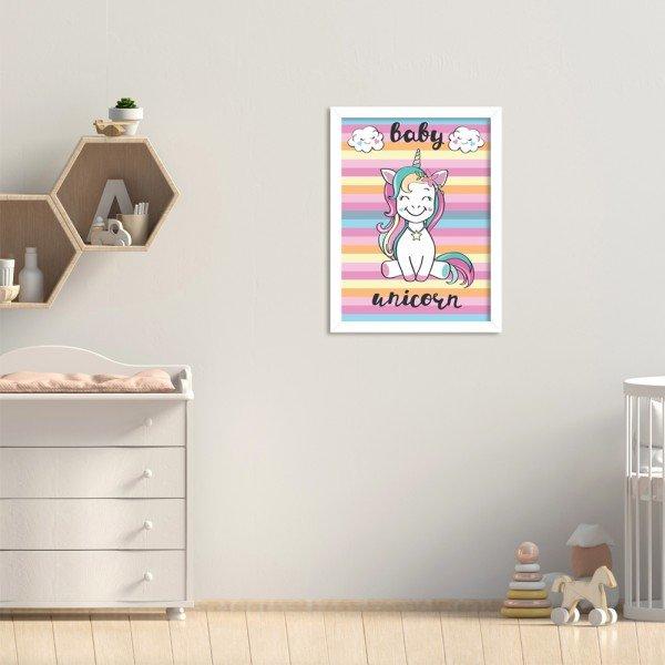 Quadro Decorativo Infantil Bebê Unicórnio Colorido Branco