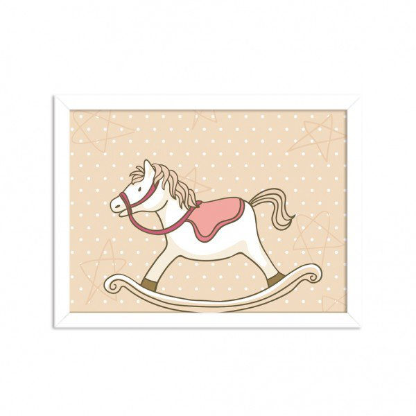 Quadro Decorativo Infantil Cavalo de Balanço Branco