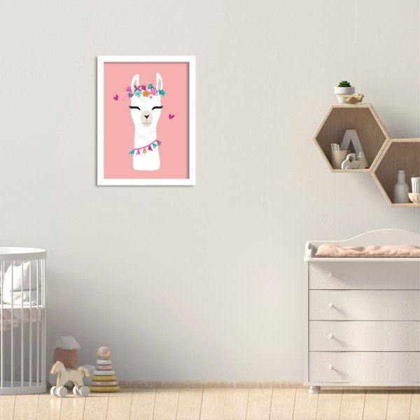Quadro Decorativo Infantil Lhama Menina Rosa Branco