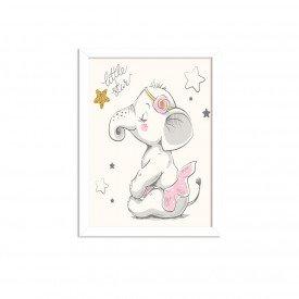 Quadro Decorativo Infantil  Elefantinha Bailarina Branco