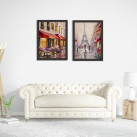 Kit 2 Quadros Decorativos Paris Torre Eiffel Pintura Abstrata Preto
