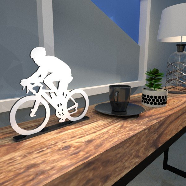 Escultura de Mesa Adorno Bike Outdoor Branco