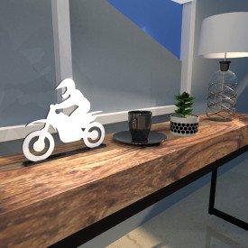 Escultura de Mesa Motocross Branco