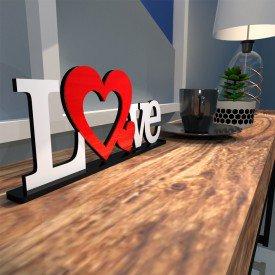 Escultura de Mesa Love Dois Corações Vermelho Branco
