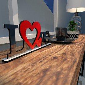 Escultura de Mesa Love Dois Corações Vermelho Preto