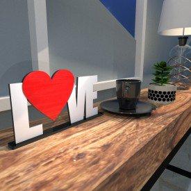Escultura de Mesa Love Heart Vermelho Branco