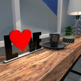 Escultura de Mesa Love Heart Vermelho Preto