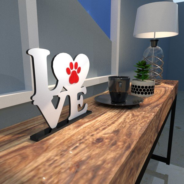 Escultura de Mesa Adorno Branco Love Pet Pata Vermelha