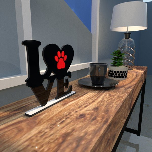 Escultura de Mesa Adorno Preto Love Pet Pata Vermelha