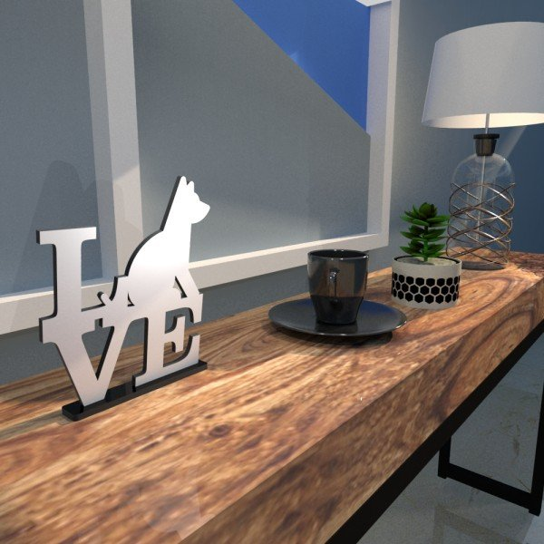 Escultura de Mesa Adorno Branco Love Dog Amo Cachorros