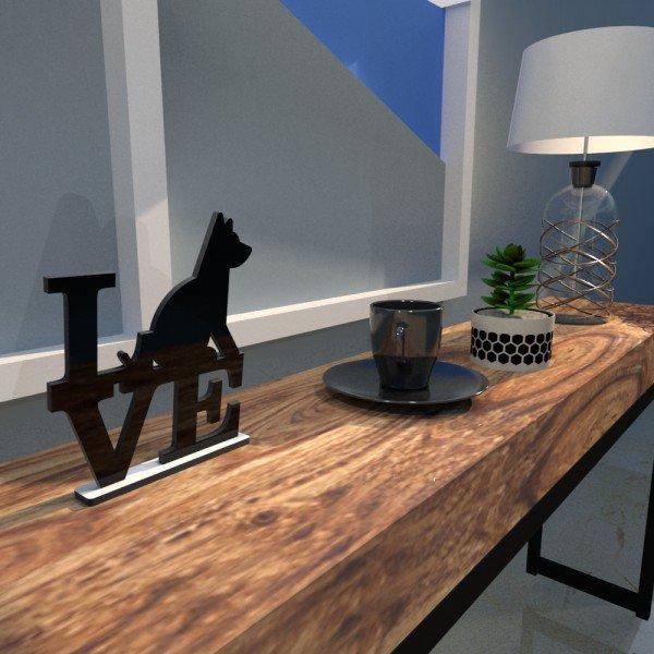 Escultura de Mesa Adorno Preto Love Dog Amo Cachorros