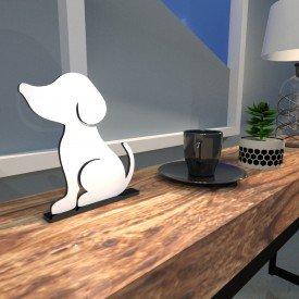 Escultura de Mesa Adorno Branco Cachorro Melhor Amigo