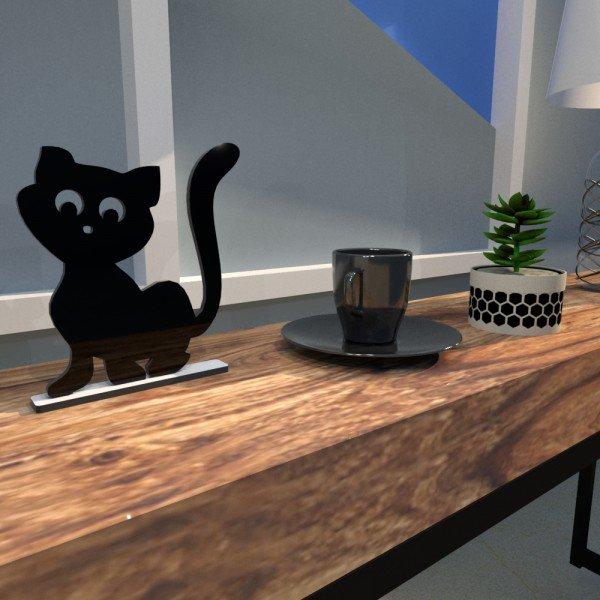 Escultura de Mesa Adorno Gatinho Simpático Companheiro Preto