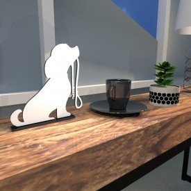 Escultura de Mesa Branco em MDF Cachorro Amigo com Guia de Passeio