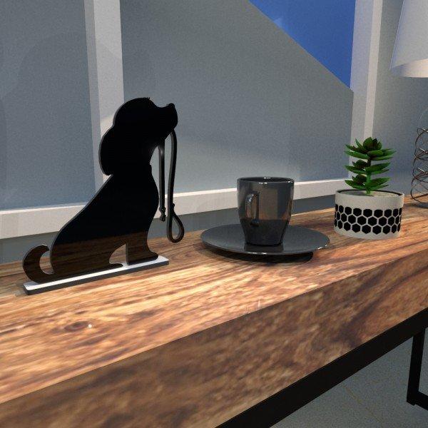 Escultura de Mesa Preto em MDF Cachorro Amigo com Guia de Passeio